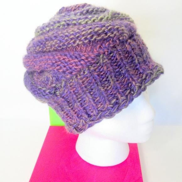 InfiniteElaine Accessories - Handknit Swirly Purple Non-Itchy Beanie Hat dd6b6691369